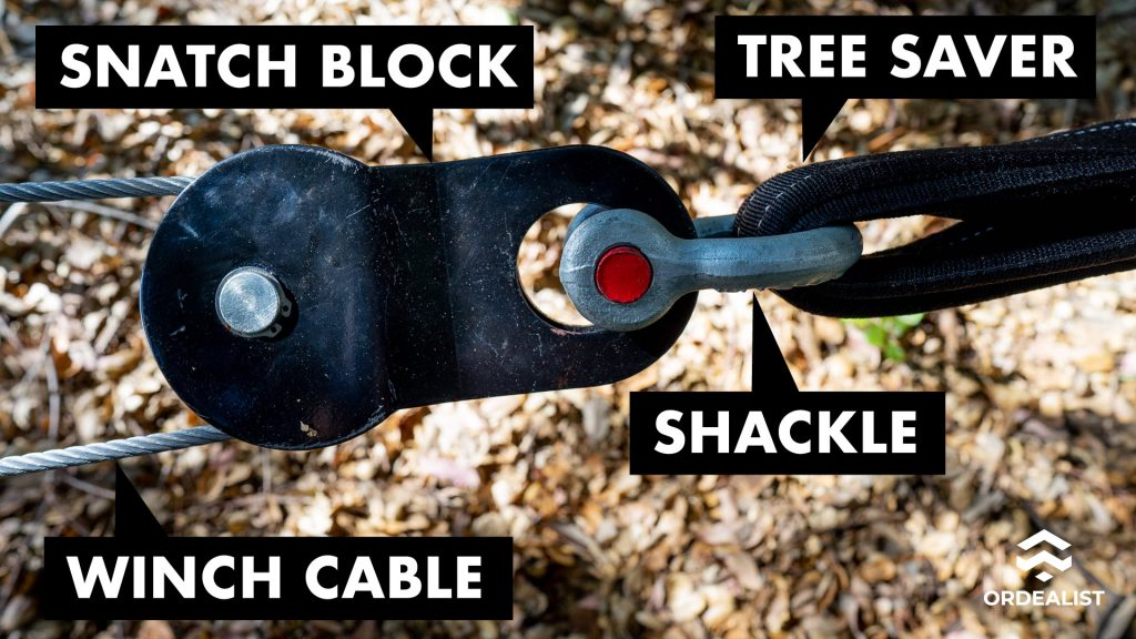 Snatch Block connecting to Tree Saver