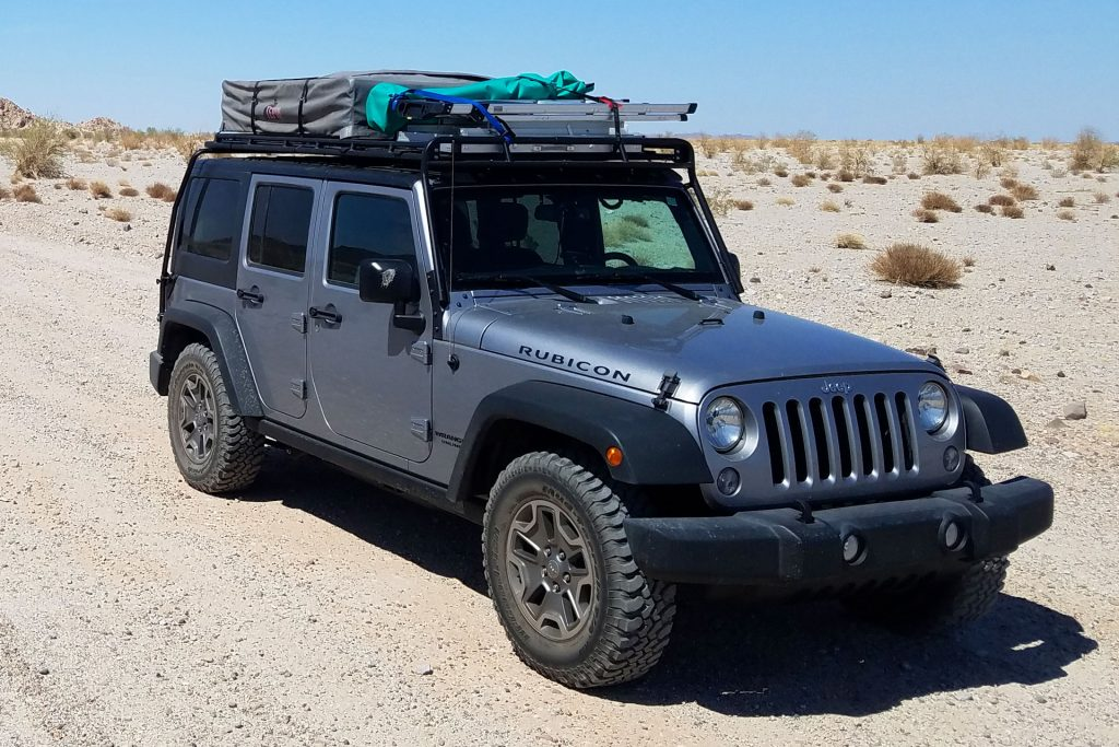 Jeep Wrangler with big load on top