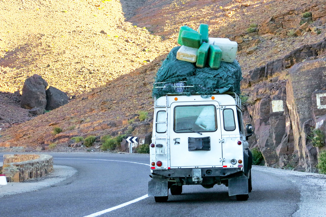 Land Rover Defender with cargo